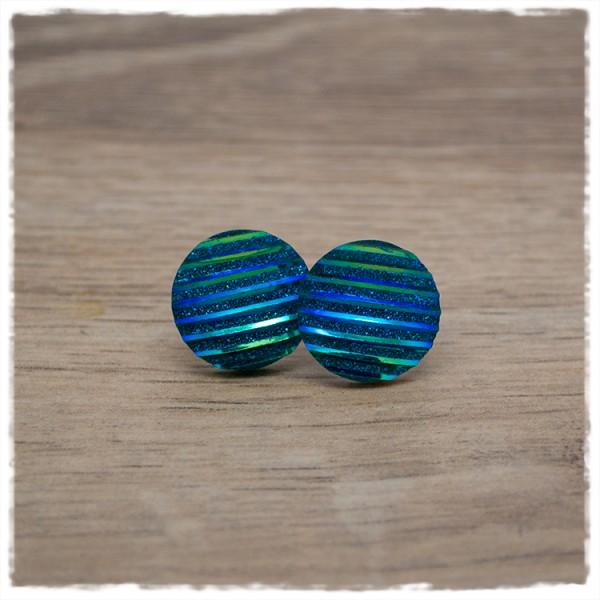 1 Paar Glitzerohrstecker in 16 mm blau gestreift