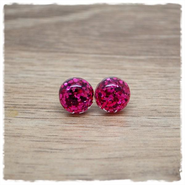 1 Paar Ohrstecker in 12 mm pinker Glitter