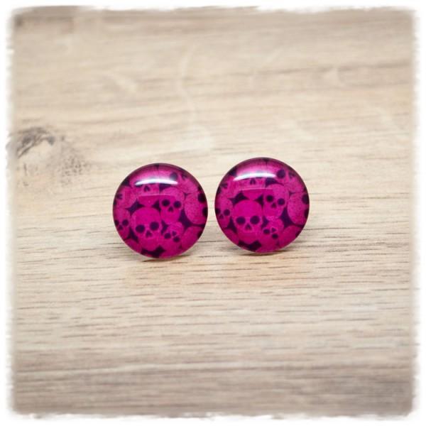 1 Paar Ohrstecker 18 mm Totenköpfen auf pinkem Hintergrund (wahlweise als Ohrclips)