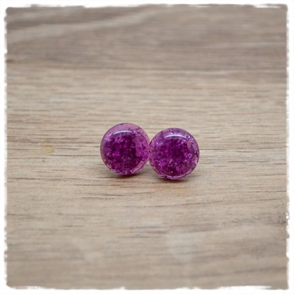 1 Paar Ohrstecker in 12 mm lila Glitter