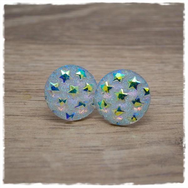 1 Paar Ohrstecker in 20 mm weißer Glitzer mit Sternen