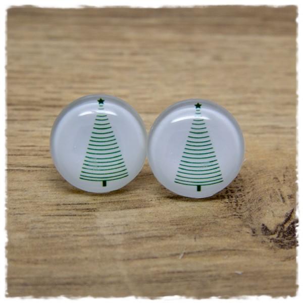 1 Paar Ohrstecker mit Tannenbaum in grün