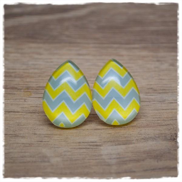 1 Paar Ohrstecker in Tropfenform mit gelben und grauen Zacken