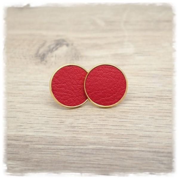 1 Paar Lederohrstecker rot mit goldener Fassung