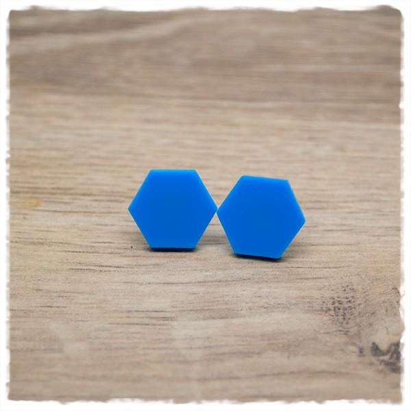 1 Paar flache Ohrstecker sechseckig in 16 mm hellblau