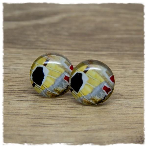 1 Paar Ohrstecker mit Muster in gelb, rot, grau und schwarz