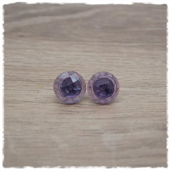 1 Paar Ohrstecker 14 mm einfarbig lila geschliffen