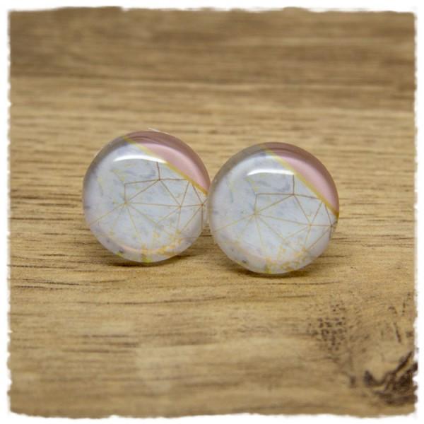1 Paar Ohrstecker weiß marmoriert mit rosa