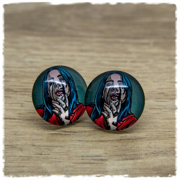 1 Paar Ohrstecker in 20 mm Mädchen mit blauen Haaren