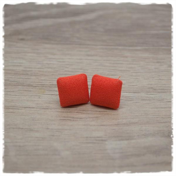 1 Paar quadratische Stoffohrstecker in 14 mm orange