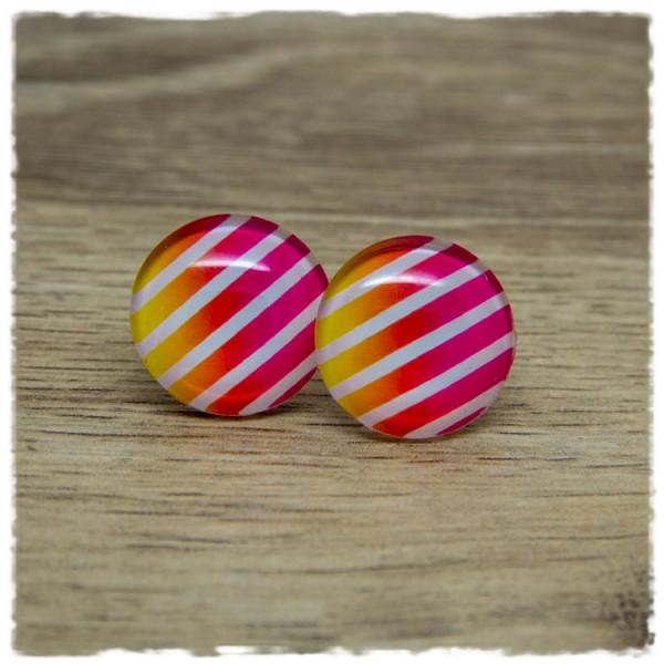 1 Paar Ohrstecker mit pink-gelben und weißen Streifen