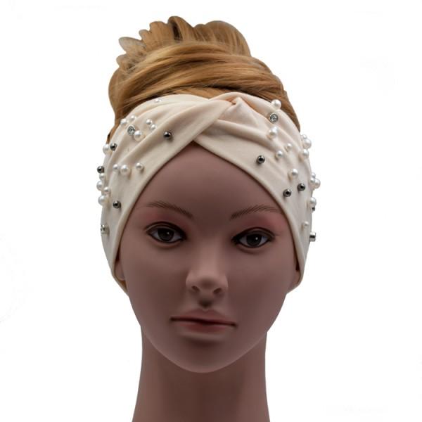 Stirnband creme mit Perlenapplikation