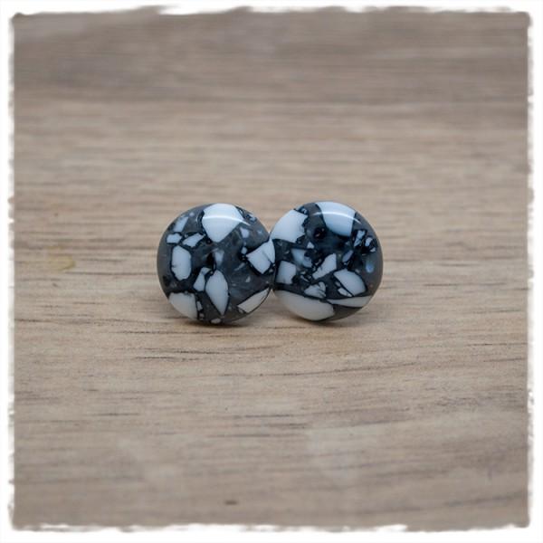 1 Paar Ohrstecker in 14 mm grau weiß marmoriert