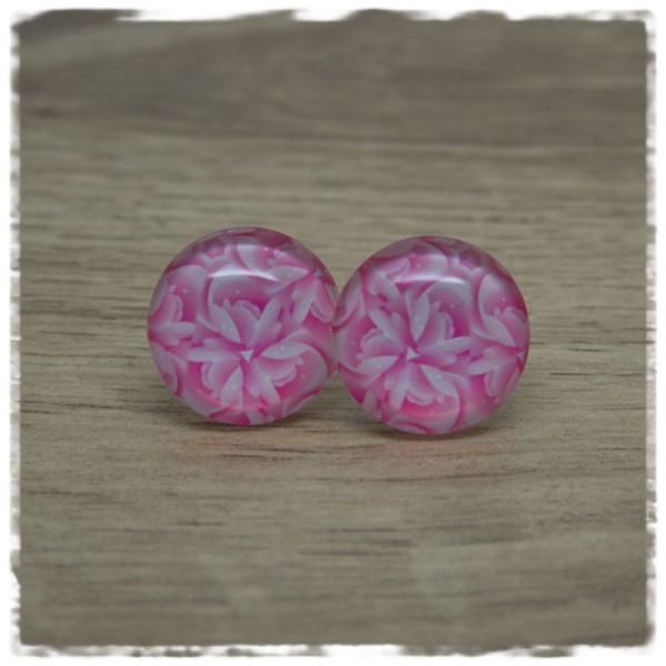 1 Paar Ohrstecker mit pink weißen Blüten