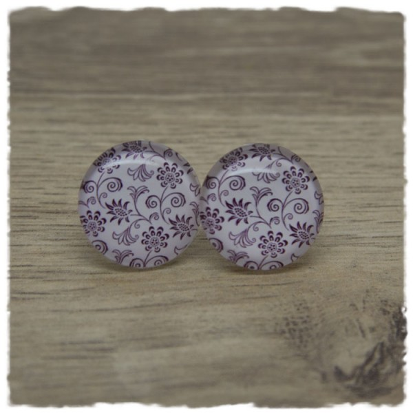 1 Paar Ohrstecker in 20 mm rosa mit floralem Muster
