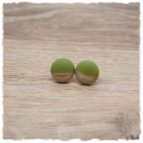 1 Paar Ohrstecker in 12 mm matt grün mit Holzdekor