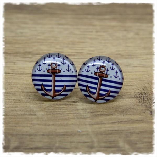1 Paar Ohrstecker Anker auf blau weißen Streifen und kleinen Ankern