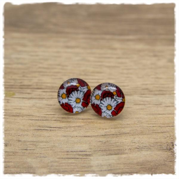 1 Paar Ohrstecker in 12 mm mit roten und weißen Blüten