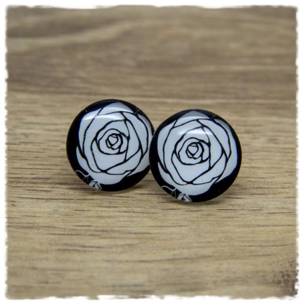 1 Paar Ohrstecker mit weißer Rose auf schwarzem Hintergrund