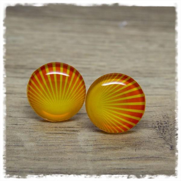 1 Paar Ohrstecker in 20 mm gelb orange gemustert