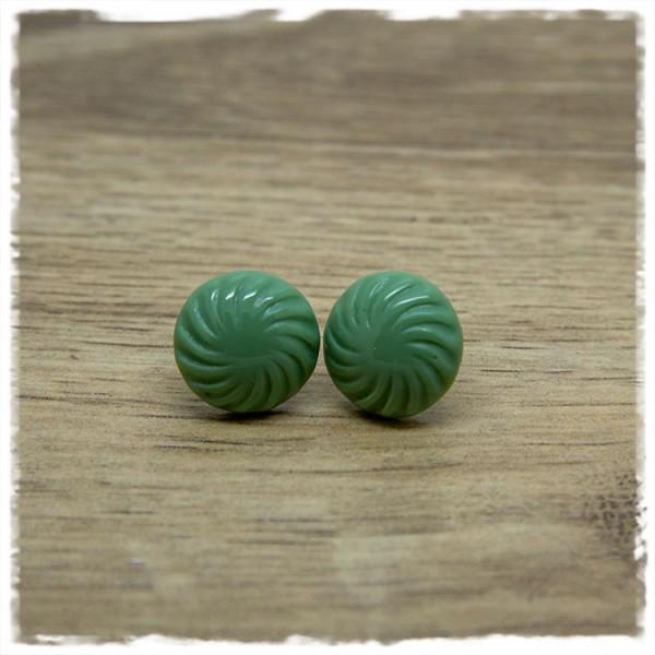 1 Paar Ohrstecker in 16 mm grün mit Struktur