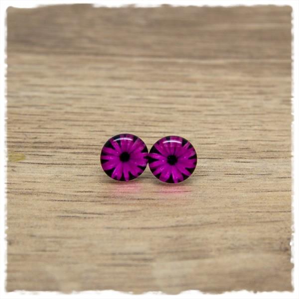 1 Paar Ohrstecker in 10 mm mit pinker Blüte