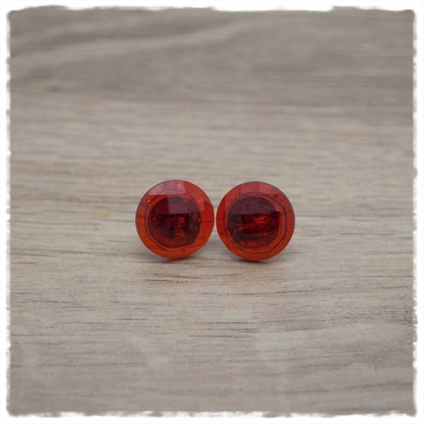 1 Paar Ohrstecker 14 mm einfarbig rot geschliffen