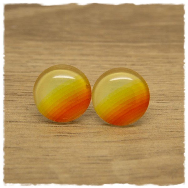 1 Paar Ohrstecker gelb-orange gemustert