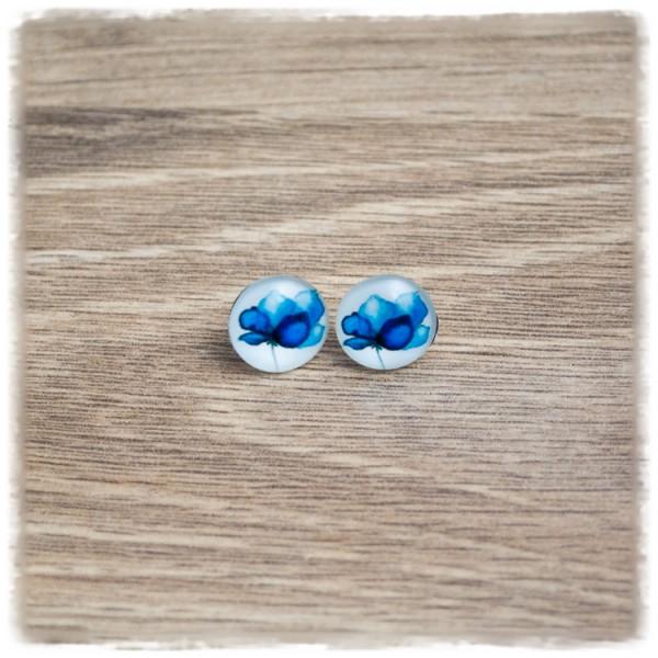 1 Paar Ohrstecker 12 mm mit blauer Blüte