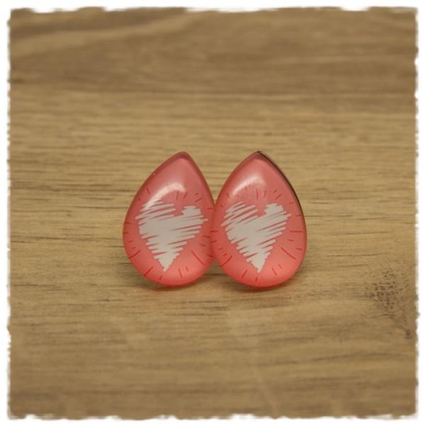 1 Paar große Ohrstecker in Tropfenform hellrot mit weißem Herz