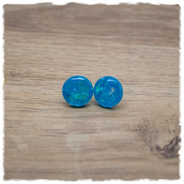 1 Paar Ohrstecker in 12 mm blau mit Glitterflakes