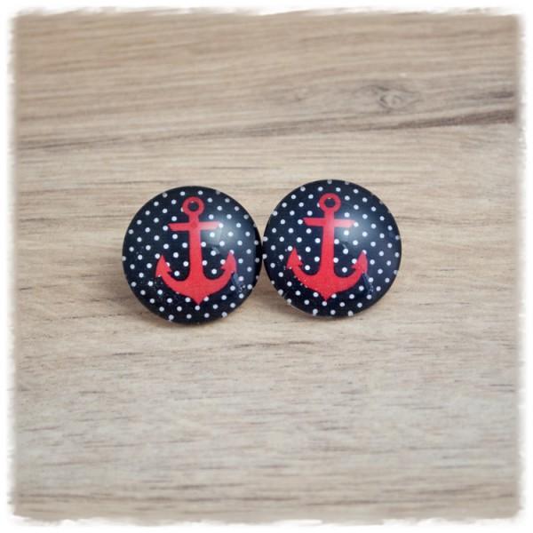 1 Paar Ohrstecker in 20 mm mit rotem Anker auf schwarz weißem Hintergrund (wahlweise als Ohrclips)
