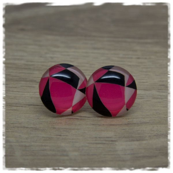 1 Paar Ohrstecker pink schwarz gemustert