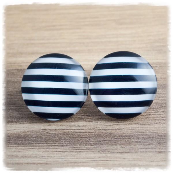 1 Paar Ohrstecker in 25 mm schwarz weiß gestreift (wahlweise als Ohrclips)