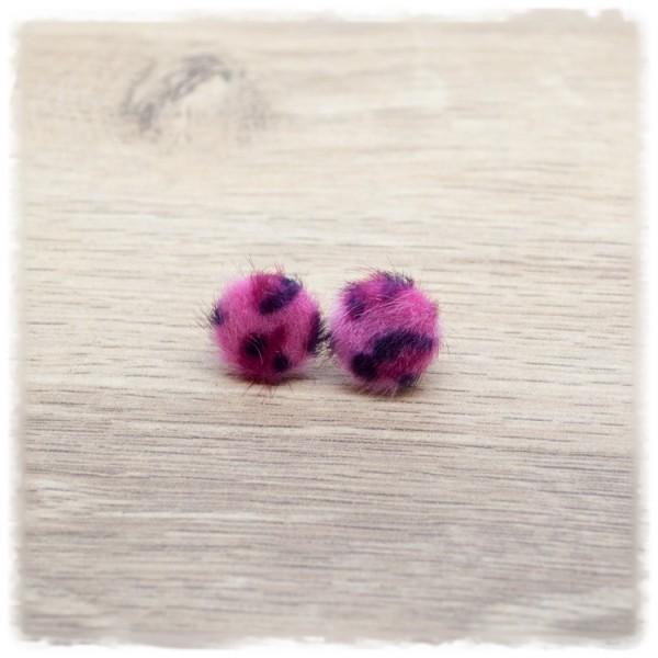 1 Paar Pelzohrstecker in 12 mm Leoprint pink