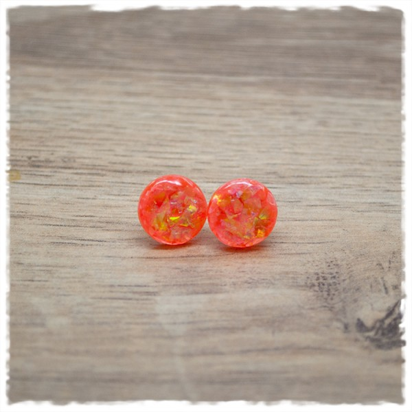 1 Paar Ohrstecker in 12 mm orange mit Glitterflakes
