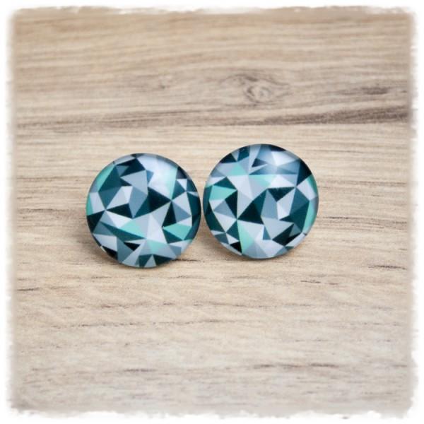 1 Paar Ohrstecker mit geometrischen Figuren in grün (wahlweise als Ohrclips)