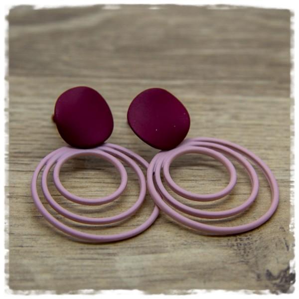 1 Paar Ohrstecker in 30 mm burgund-rosa