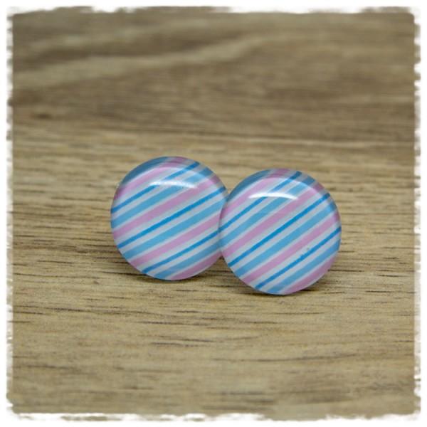 1 Paar Ohrstecker in 20 mm mit Streifen in weiß, hellblau und rosa