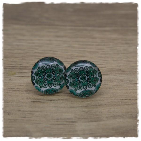 1 Paar Ohrstecker in 16 mm mit grünem Muster