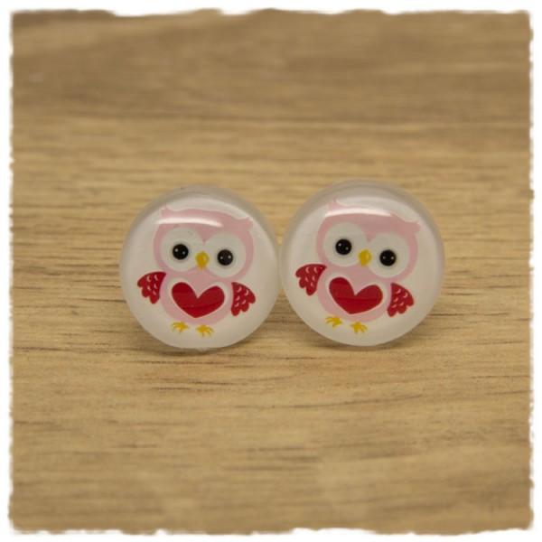 1 Paar Ohrstecker mit rosa Eule