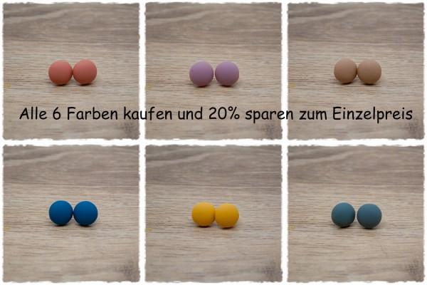 6 Paar Ohrstecker in 12 mm einfarbig matt alle Farben