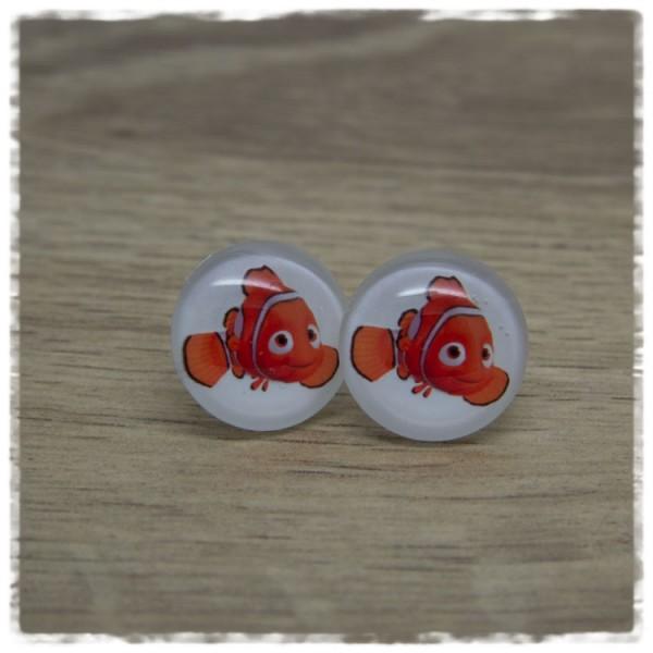 1 Paar Ohrstecker in 20 mm weiß mit orangem Fisch