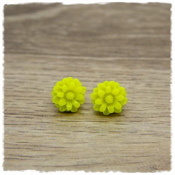 1 Paar Ohrstecker in 12 mm Blüte gelb