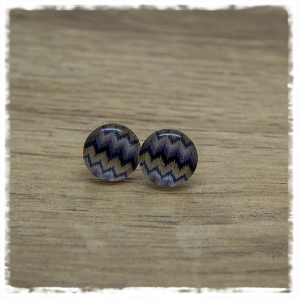 1 Paar Ohrstecker in 12 mm graublau gezackt