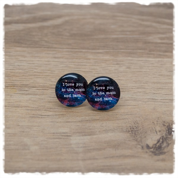 """1 Paar Ohrstecker in 16 mm """"I love you to the moon and back"""""""