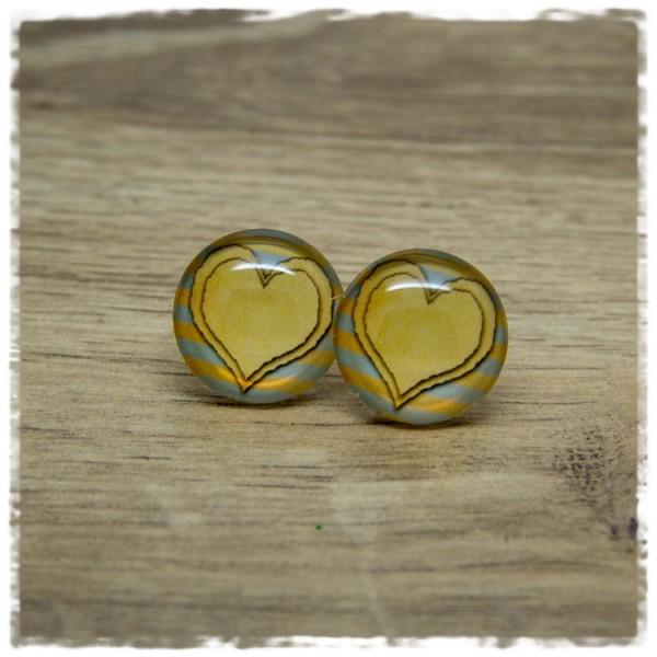 1 Paar Ohrstecker mit Herz auf blauen und gelben Streifen