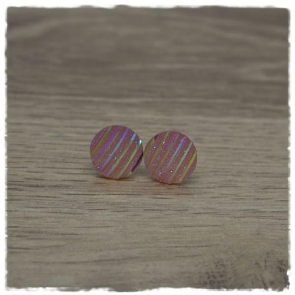 1 Paar Glitzerohrstecker in 12 mm rosa gestreift