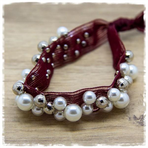 Ibiza Armband in dunkelrot mit Perlen