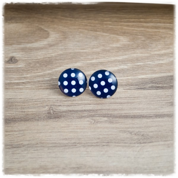 1 Paar Ohrstecker 12mm blau mit weißen Punkten